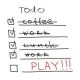 Lista de ToDo - hora de jugar Fotografía de archivo