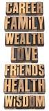 Lista de valores de la vida en el tipo de madera Imagen de archivo libre de regalías