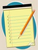 Lista de verificação amarela da almofada, lápis, EPS+JPG ilustração do vetor
