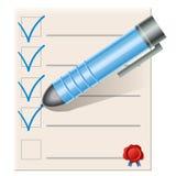 Lista de verificação com pena azul Imagem de Stock Royalty Free