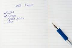 Lista de verificação de 2017 destinos do curso no bloco de notas Imagem de Stock Royalty Free