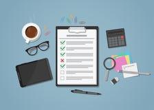 Lista de verificação no local de trabalho ilustração do vetor