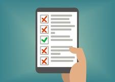 Lista de verificação ou todo-lista de Digitas indicada na tela da tabuleta Conceito do exame falhado ou de tarefas faltadas Imagens de Stock