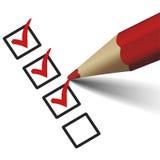 Lista de verificação vermelha do vetor Foto de Stock