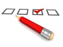 Lista de verificación con el lápiz rojo en el fondo blanco Fotos de archivo libres de regalías
