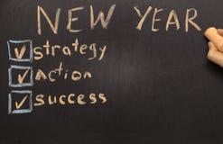 Lista de verificación de la resolución del Año Nuevo en la pizarra Fotografía de archivo libre de regalías
