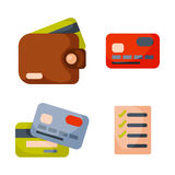 Lista de verificación del icono de la cartera del dinero plano que hace el pago de las finanzas de la moneda del negocio de efect Fotos de archivo libres de regalías