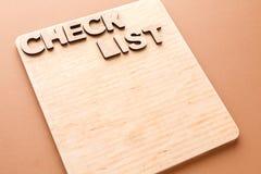 Lista de verificación, tablero de madera, espacio de la copia Imagenes de archivo