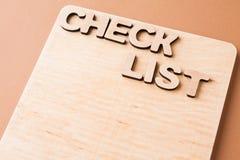Lista de verificación, tablero de madera, espacio de la copia Imagen de archivo