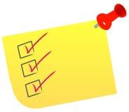 Lista de verificación en nota Foto de archivo libre de regalías