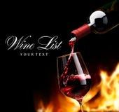Lista de vino del arte foto de archivo