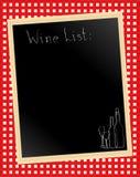 Lista de vino en la guinga Imagenes de archivo
