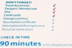 Lista del cheque de viaje Imagen de archivo libre de regalías
