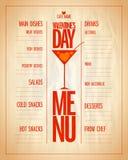 Lista del menú del día de San Valentín con los platos y las bebidas Imagen de archivo