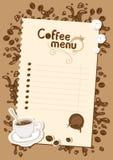 Lista del menú para el chocolate caliente y el café Fotos de archivo libres de regalías