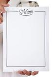 Lista del menu, mani del cuoco unico Immagini Stock