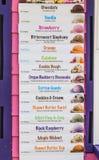 Lista del sabor del helado Imágenes de archivo libres de regalías