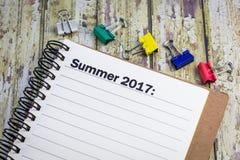 Lista del verano 2017 Foto de archivo libre de regalías
