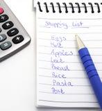 Lista di acquisto Fotografie Stock