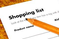 Lista di acquisto immagine stock