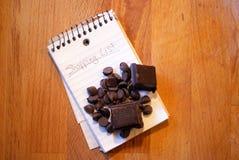 Lista di acquisto - cioccolato Fotografia Stock
