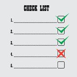 Lista di assegno Immagine Stock Libera da Diritti