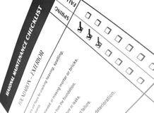 Lista di assegno per manutenzione domestica Immagini Stock