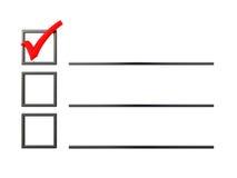 Lista di controllo Immagini Stock