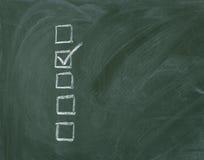 Lista di controllo alla lavagna Immagini Stock
