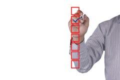 Lista di controllo in bianco sulla lavagna con il segno di spunta Immagini Stock