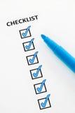 Lista di controllo blu Fotografia Stock