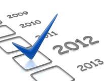 Lista di controllo con l'assegno blu di nuovo anno Fotografie Stock Libere da Diritti