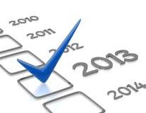 Lista di controllo con un nuovo assegno blu da 2013 anni Immagine Stock Libera da Diritti