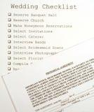 Lista di controllo di cerimonia nuziale ed accordo prematrimoniale Immagini Stock
