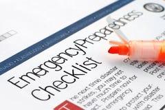 Lista di controllo di emergenza Immagini Stock