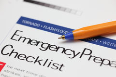 Lista di controllo di emergenza Fotografia Stock