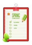 Lista di controllo di pulizie di primavera Immagine Stock