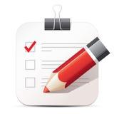 Lista di controllo e matita Fotografia Stock