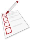Lista di controllo e penna Fotografie Stock