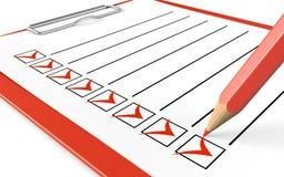 Lista di controllo. Lavagna per appunti e matita rosse. Fotografie Stock