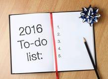 Lista 2016 di da fare Immagine Stock