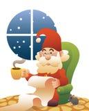 Lista di lettura calma del Babbo Natale a casa Fotografia Stock