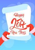 Lista di obiettivi del buon anno di Santa Claus Hands Scroll Merry Christmas Fotografie Stock Libere da Diritti