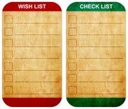 Lista di obiettivi del rilievo e lista di assegno appiccicose Immagini Stock