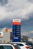 Lista di prezzo del gas Fotografie Stock