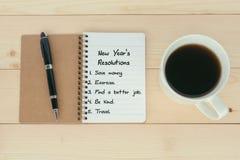 Lista di risoluzioni del ` s del nuovo anno fotografia stock libera da diritti
