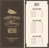 Lista di vino Immagini Stock