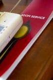 Lista do menu do serviço de quarto do hotel foto de stock royalty free