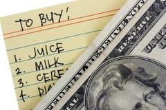 Lista e dólares Fotos de Stock