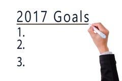 Lista en blanco de metas para el concepto 2017 del año Foto de archivo libre de regalías
